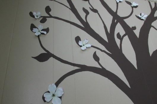 flowers added to wall mural